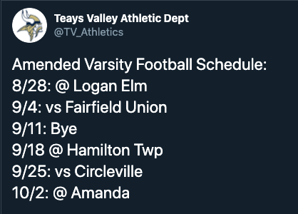 Amended Varsity Football Schedule